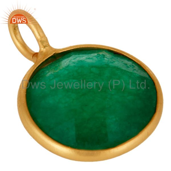 Suppliers Natural Green Aventurine Gemstone Pendant In 18K Gold Over Sterling Silver
