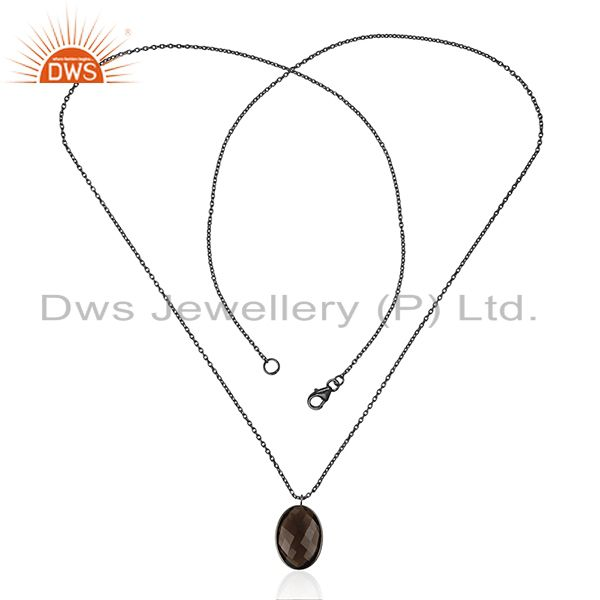 Exporter Black Rhodium Plated Sterling Silver Smoky Quartz Bezel Set Pendant With Chain