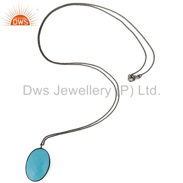 Exporter Black Rhodium Plated Sterling Silver Dyed Turquoise Bezel Set Pendant With Chain