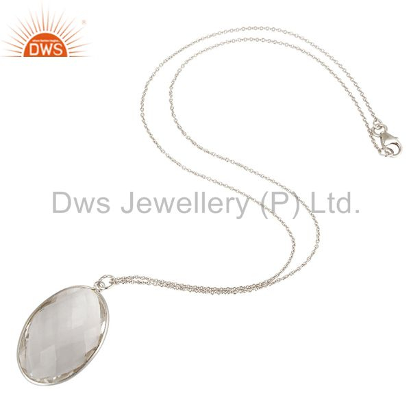Suppliers Sterling Silver and Oval Shape Crystal Quartz Gemstone Handmade Necklace