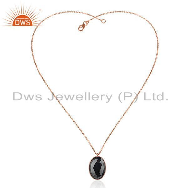 Exporter Rose Gold Plated 925 Silver Hematite Gemstone Chain Pendant Manufacturer India
