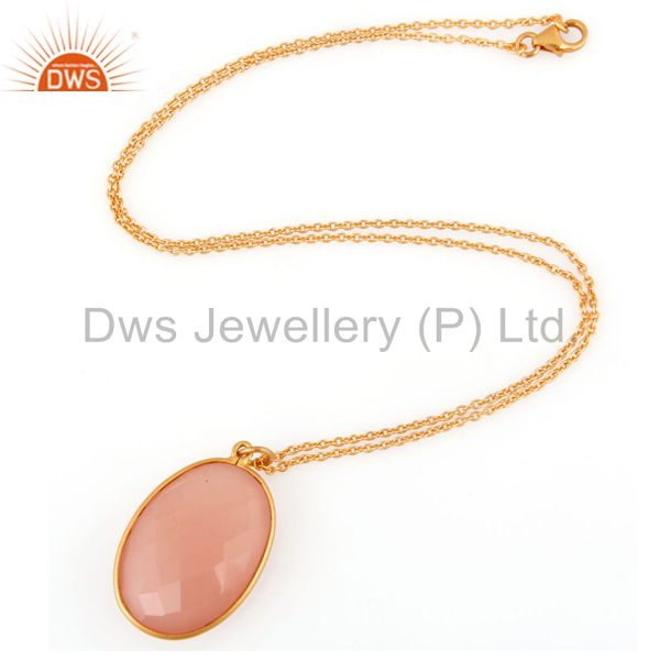 Exporter Sterling Silver Faceted Rose Chalcedony Gemstone Pendant With Chain -Gold Plated
