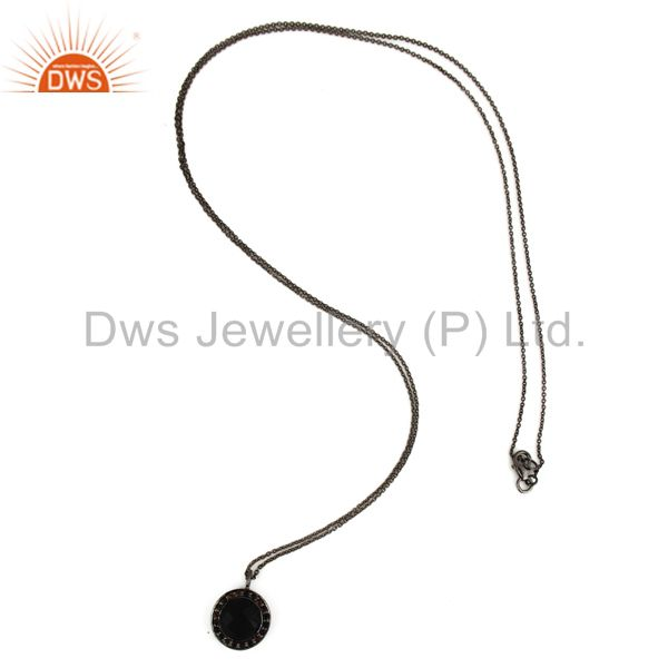 Exporter Black Onyx And Smoky Quartz Pendant Necklace In Oxidized Sterling Silver