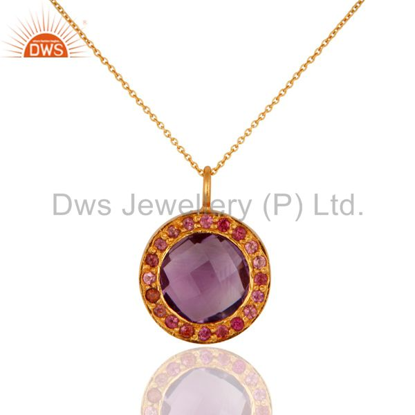 Exporter 18K Yellow Gold Over 925 Sterling Silver Amethyst & Tourmaline Gemstone Pendant