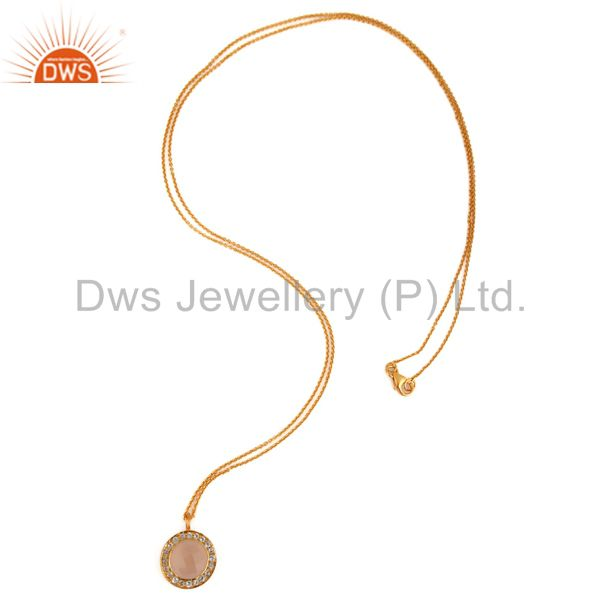 Wholesalers 18K Gold Plated Sterling Silver Rose Chalcedony & White Topaz Pendant With Chain
