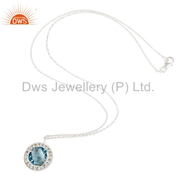 Wholesalers Blue Topaz & White Topaz Gemstone Chain Pendant With Solid 925 Sterling Silver