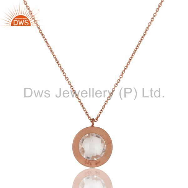 Wholesalers 18K Rose Gold Plated Silver Crystal Quartz And White Topaz Pendant With Chain