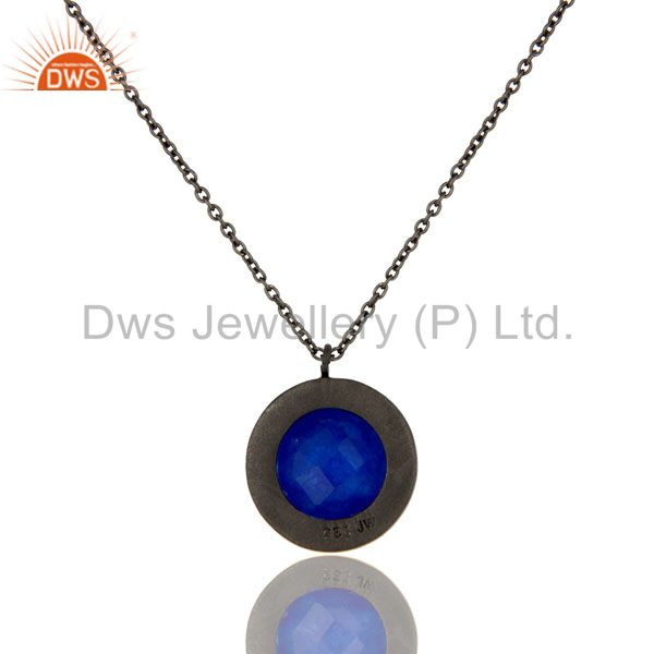 Wholesalers Oxidized Sterling Silver Blue Aventurine And White Topaz Pendant With Chain