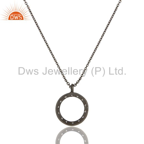 Exporter 925 Sterling Silver With Oxidized White Topaz Open Circle Pendant With Chain