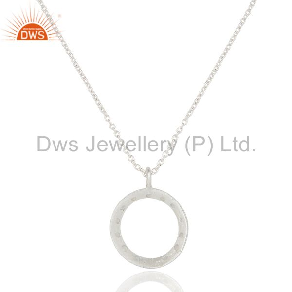 Exporter 925 Sterling Silver White Topaz Gemstone Circle Pendant With Chain Necklace