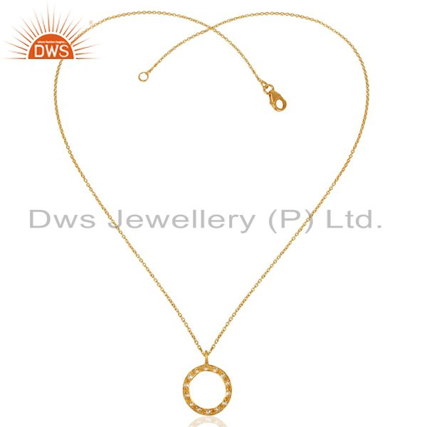 Exporter 18K Yellow Gold Plated Sterling Silver White Topaz Circle Pendant With Chain