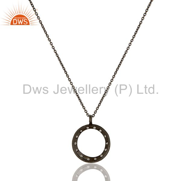 Wholesalers Sterling Silver White Topaz Circle Designs Pendant Necklace With Black Oxidized