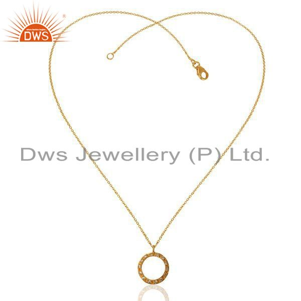 Exporter 22K Gold Plated Sterling Silver Cubic Zirconia Open Circle Pendant With Chain