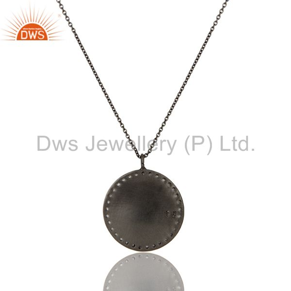 Exporter 925 Sterling Silver With Oxidized White Topaz Vintage Coin Pendant With Chain