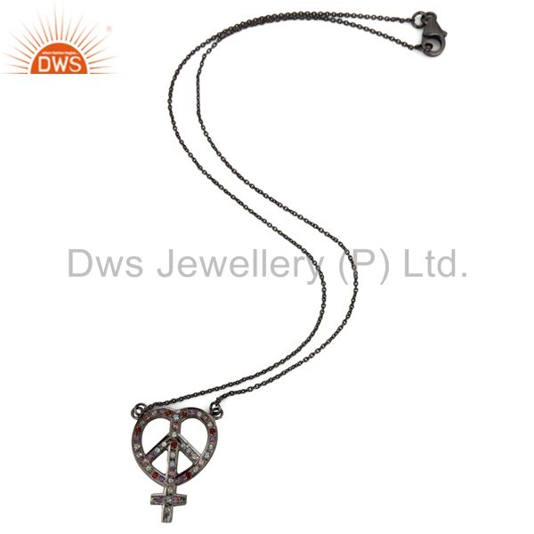Exporter Oxidized Sterling Silver Multi Gemstone Heart, Ankh & Peace Sign Pendant Chain