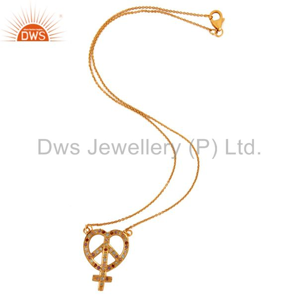Exporter 18K Gold Plated Sterling Silver Mix Gemstone Heart Ankh Peace Sign Pendant Chain