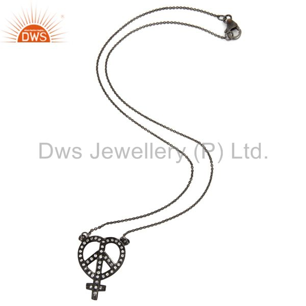 Exporter Rhodium Plated Sterling Silver White Topaz Heart, Ankh & Peace Sign Necklace