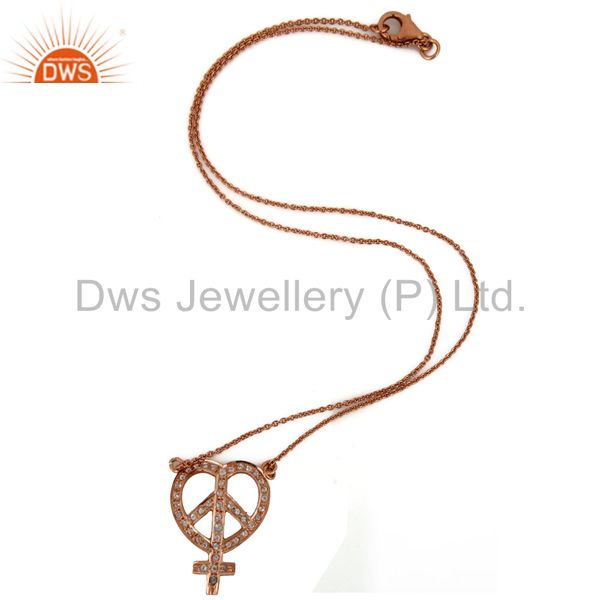 Exporter 18K Rose Gold Plated Sterling Silver White Topaz Peace Sign Pendant Necklace