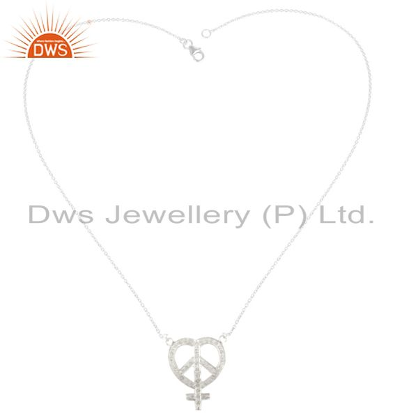 Exporter 925 Sterling Silver White Topaz Gemstone Peace Sign Pendant Necklace