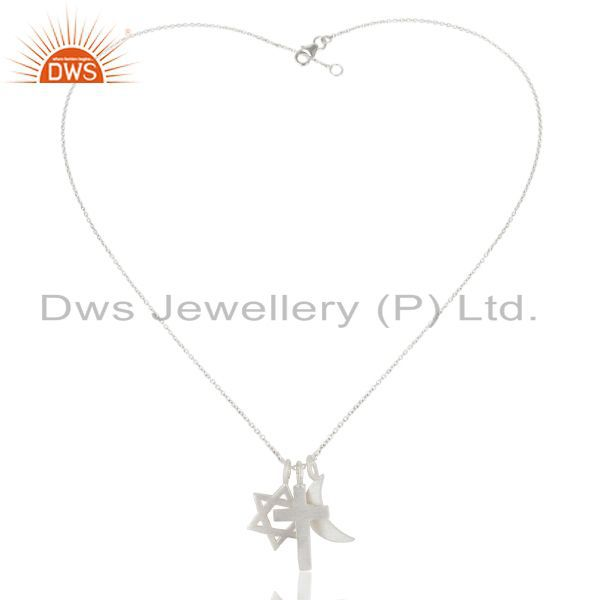 Exporter 925 Sterling Silver Cross, Half Moon And Star of David Charms Pendant With Chain