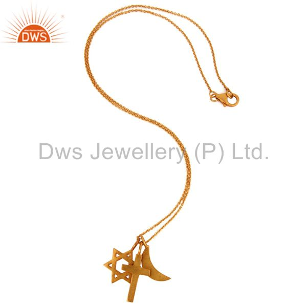 Suppliers 18K Yellow Gold Plated Sterling Silver Cross, Half Moon And Star Charms Necklace