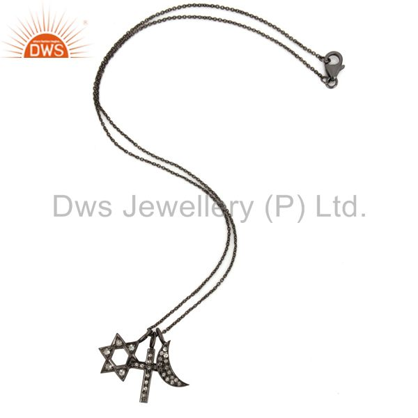 Wholesalers Oxidized Sterling Silver White Topaz Cross, Half Moon And Star Charms Necklace