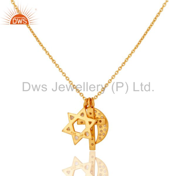Wholesalers Yellow Gold Plated Silver White Topaz Cross, Half Moon & Star Charms Necklace