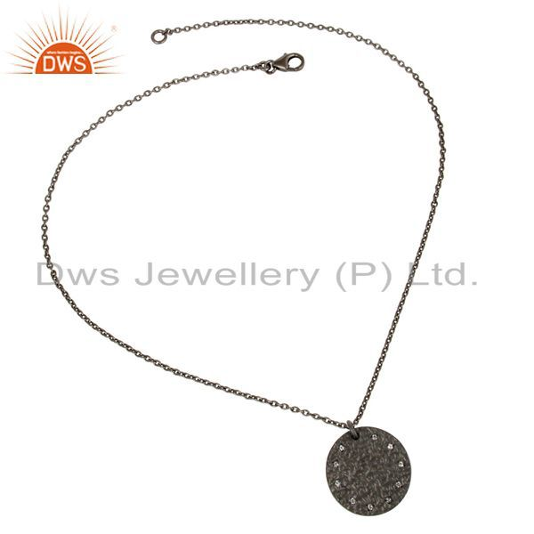 Exporter Black Oxidized 925 Sterling Silver White Topaz Chain Pendant Necklace Jewelry