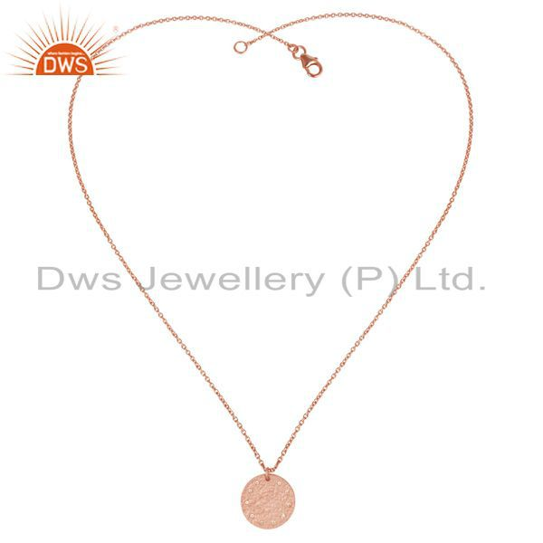 Exporter 14K Rose Gold Plated 925 Sterling Silver White Topaz Chain Pendant Necklace