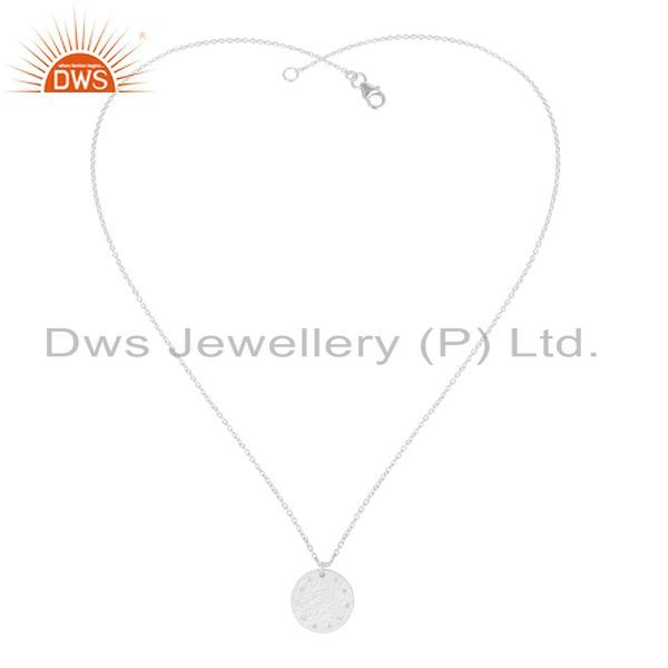 Exporter Handmade Solid 925 Sterling Silver White Topaz Chain Pendant Necklace Jewelry