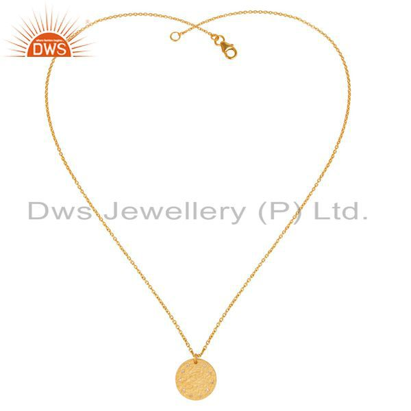 Exporter 14K Yellow Gold Plated 925 Sterling Silver White Topaz Chain Pendant Necklace