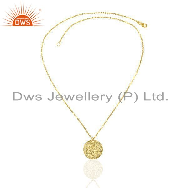 Exporter Hammered Sterling Silver 14k Gold Plated Zircon Chain Pendant Supplier