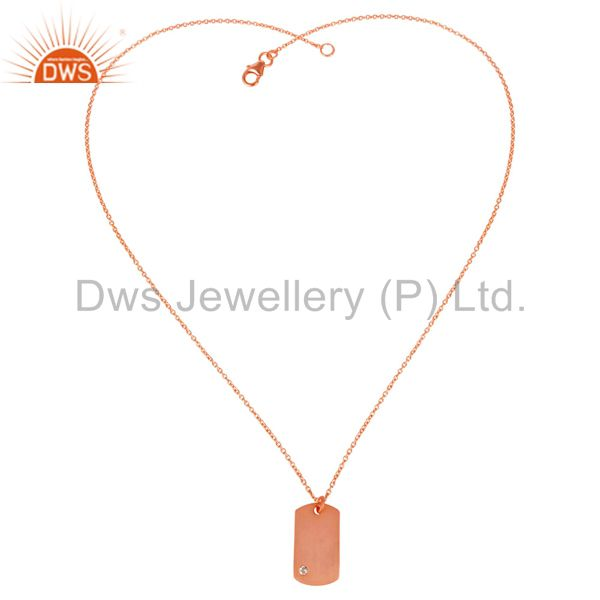 Exporter 14K Rose Gold Plated 925 Sterling Silver White Topaz Chain Pendant Jewelry