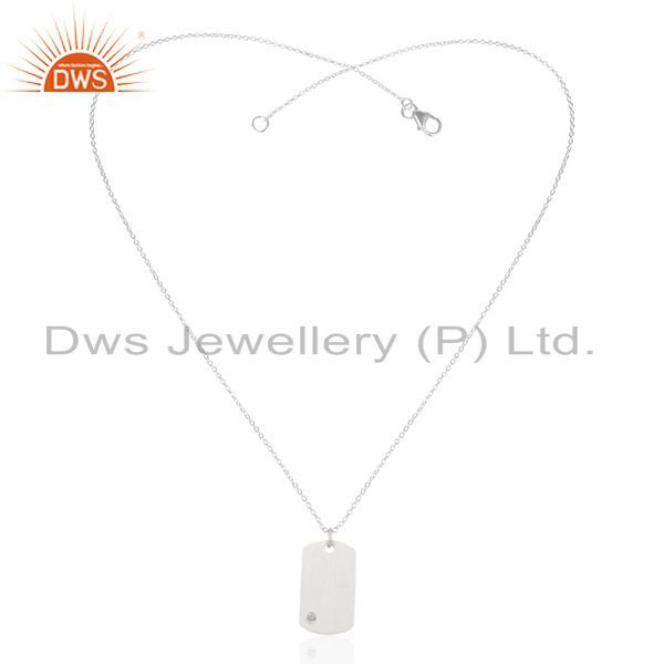 Exporter Handmade Solid 925 Sterling Silver Handmade White Topaz Chain Pendant Jewelry