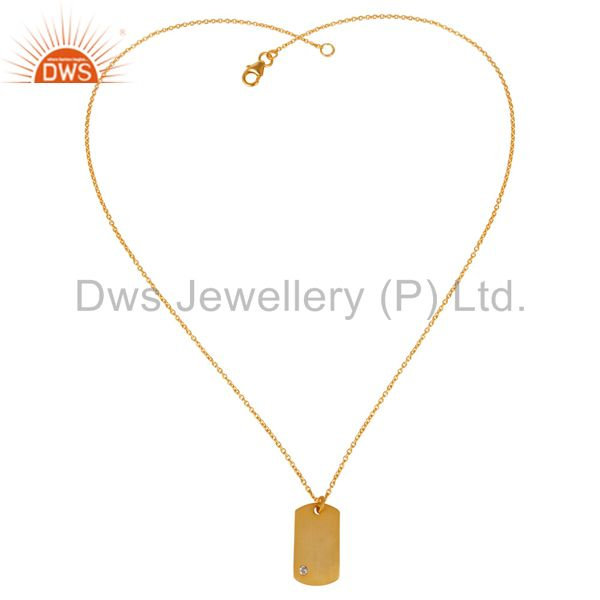 Exporter 14K Yellow Gold Plated 925 Sterling Silver White Topaz Chain Pendant Jewelry