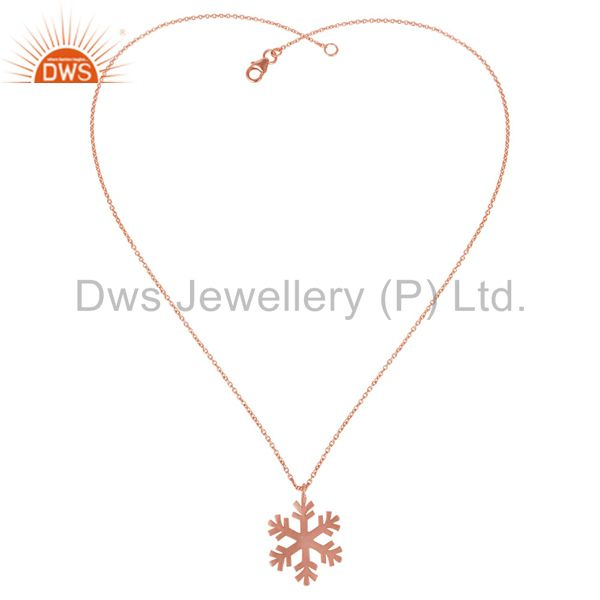 Exporter 14K Rose Gold Plated 925 Sterling Silver Handmade Art Fashion Chain Pendant