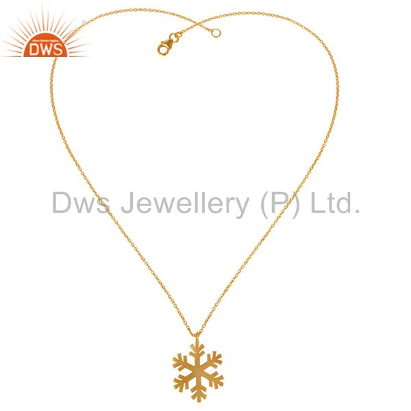 Exporter 14K Yellow Gold Plated 925 Sterling Silver Handmade Art Fashion Chain Pendant