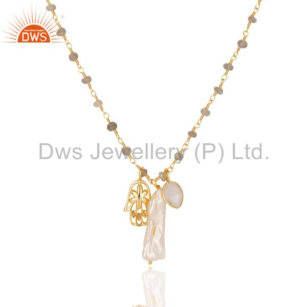 Exporter 14K Gold Plated Rainbow Moonstone & Water Pearl 23 Inch Chain Brass Pendant