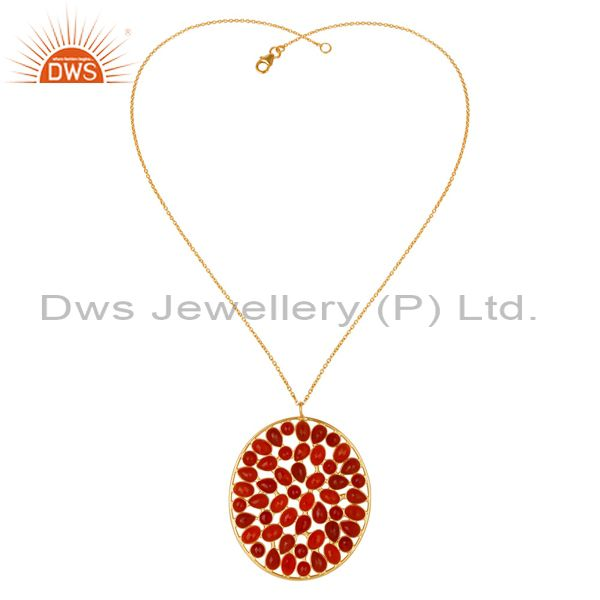 Exporter 14K Gold Plated 925 Sterling Silver Handmade Checkered Red Onyx Chain Pendant