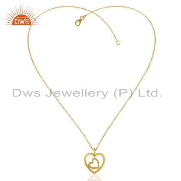 Exporter Handmade Heart 18K Yellow Gold Plated 925 Sterling Silver Chain Pendant Jewelry