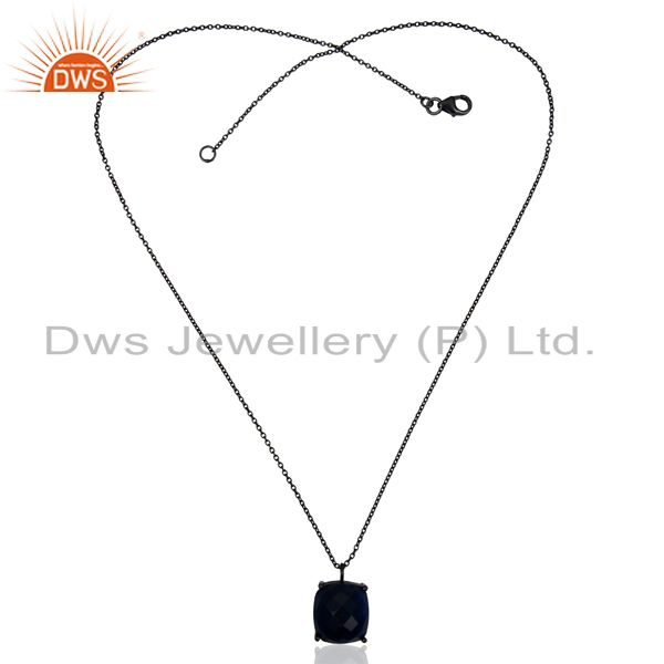 Exporter Blue Corundum Black Oxidized 925 Sterling Silver Chain Pendant Necklace Jewelry