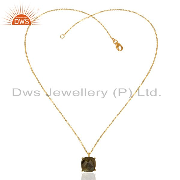 Exporter Labradorite 18K Gold Plated 925 Sterling Silver Sterling Silver Chain Pendant