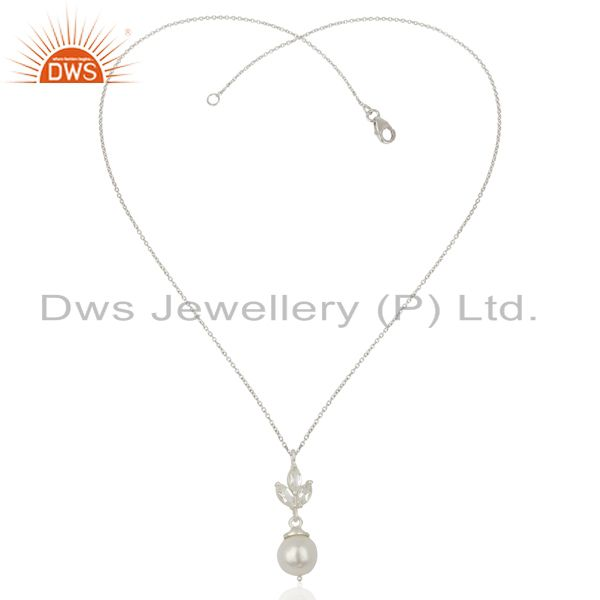 Exporter Crystal Quartz Pearl Gold Plated Sterling Silver Chain Pendant Necklace Jewelry