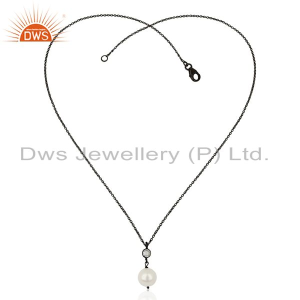 Exporter Pearl White Topaz Black Oxidized 925 Sterling Silver Chain Pendant Jewelry
