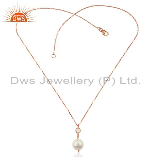 Exporter Pearl White Topaz 14K Rose Gold Plated 925 Sterling Silver Chain Pendant Jewelry