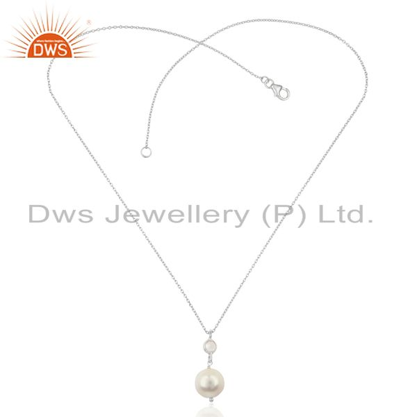 Exporter Pearl White Topaz Gemstone 925 Sterling Silver Chain Pendant Necklace Jewelry