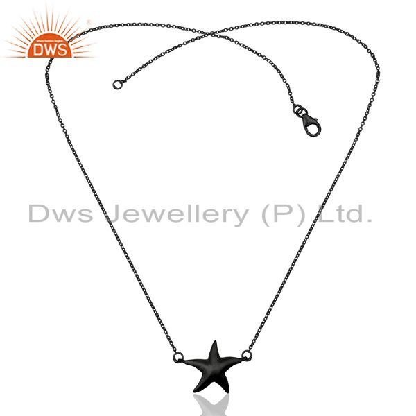 Exporter Black Oxidized 925 Sterling Silver Star Design Chain Pendant Necklace Jewelry