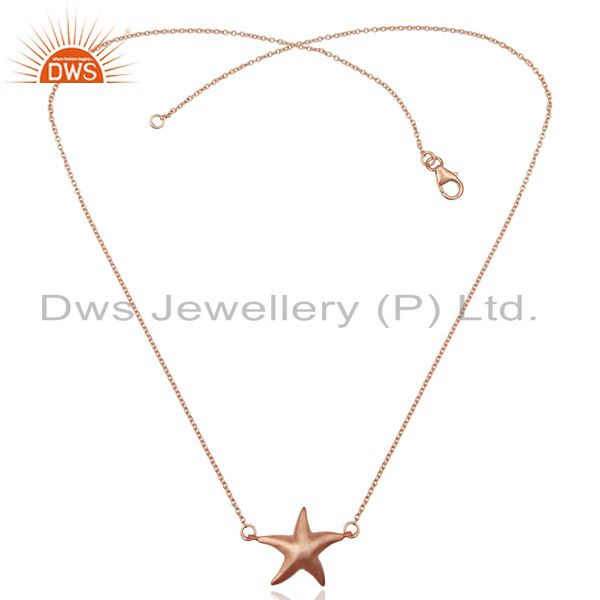 Exporter 14K Rose Gold Plated 925 Sterling Silver Star Design Chain Pendant Jewelry