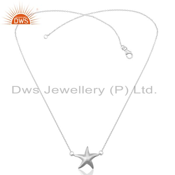 Exporter Handmade Star Design 925 Sterling Silver Chain Pendant Necklace Jewelry