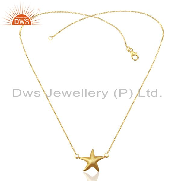 Exporter 14K Yellow Gold Plated 925 Sterling Silver Star Design Chain Pendant Jewelry